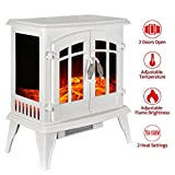 23' Electric Fireplace Heater,1500W Freestanding Stove Portable Fireplace Heater with Realistic Log Frame, White