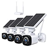Wireless Security Camera System Outdoor with Solar Powered for Home Includes Base Station and 4 Cameras, 1080P Waterproof Night Vision PIR Motion Activated with 2-Way Audio (4-Cameras)