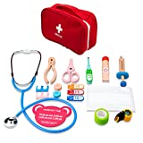 Oeasy 15 Piezas Maletin Medico Juguete Madera, Maletin Doctora Madera Juguetes con Estetoscopio, Juegos de Imitación para Niños Niña