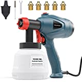 Xoopon Paint Sprayer, High Power HVLP Spray Gun, with 5 Additional Copper Nozzles & 3 Patterns, Easy...