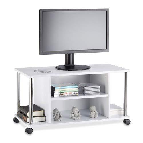 Relaxdays 10021865 Mobile TV Bianco, con 4 ruote, Carrello Porta Televisore in Legno MDF, HxLxP:...