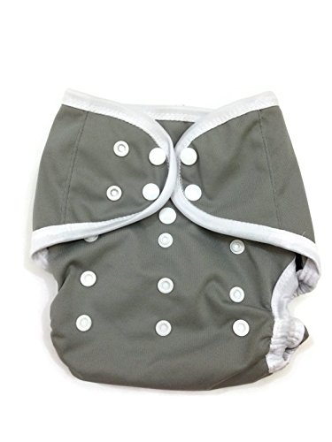 BB2 Baby One Size Solid Happy Leak-free Snaps Cloth Diaper Cover for Prefolds (One Size, Gray)
