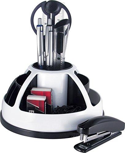 Pavo - Portapenne girevole da scrivania con 9 accessori, colore: bianco/nero, white/black