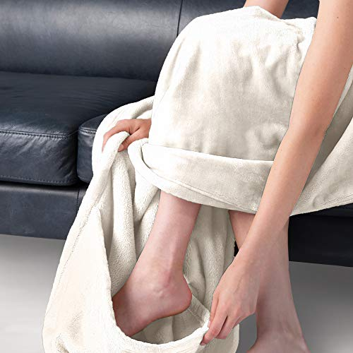 """BROOKSTONE NAP Cozy Footed Throw Blanket – 50"""" W x 70"""" L Ultra Soft Fabric Keeps Your Body Warm with Extra Deep Pocket for Your Feet – Reversible & Machine Washable – Say Goodbye to Cold Feet – Ivory"""