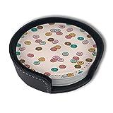 BJAMAJ Dessous de Verre Ronds en Cuir synthétique de qualité supérieure avec des Donuts de Dessin animé, pour la Maison et la Cuisine (6 pièces)