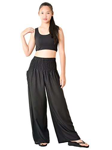 Orient Trail Women's Hippie Bohemian Boho Yoga Wide Leg Harem Pants X-Large Solid Black 1