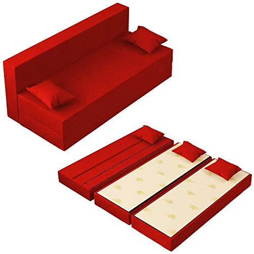 Baldiflex Divano Letto 3 Posti Modello TreTris Rivestimento Sfoderabile e Lavabile, Colore Rosso Cardinale