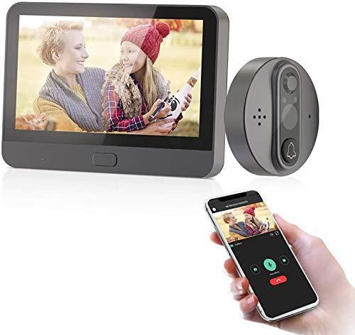 JeaTone Inteligente Mirilla Digital Wifi 4.3 Inch LED / 720P Vision Nocturna HD/Grabadora Para Puertas/Con Sensor De Movimiento/Monitoreo Remoto/FotografíA/Video/APLICACIÓN Tuya