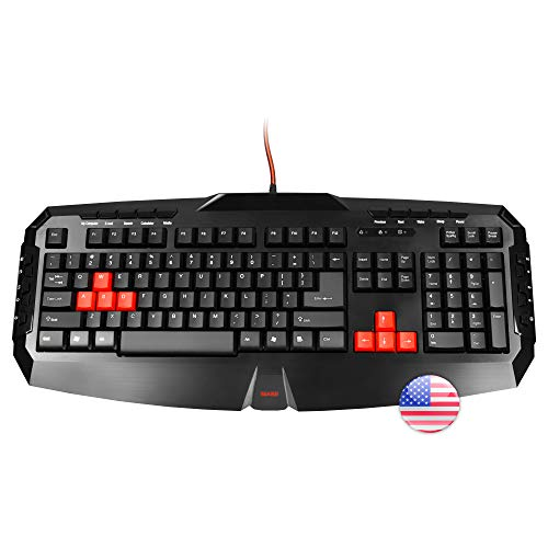 MARSGAMING MK1US, Teclado PC Membrana, Capacidad Anti-ghosting, USB, Layout US, Negro