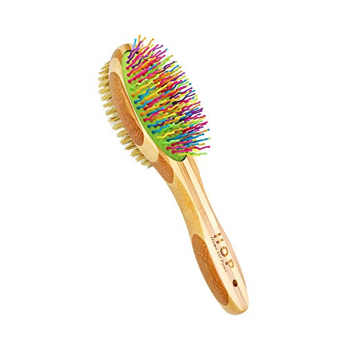 Double-Sided Pet Brush for Grooming & Massaging Dogs, Cats & Other Animals – Fur Detangling Pins & Coat Smoothing Slicker Bristles, Double the Brushing Groom Power In One Tool, Bamboo Handle