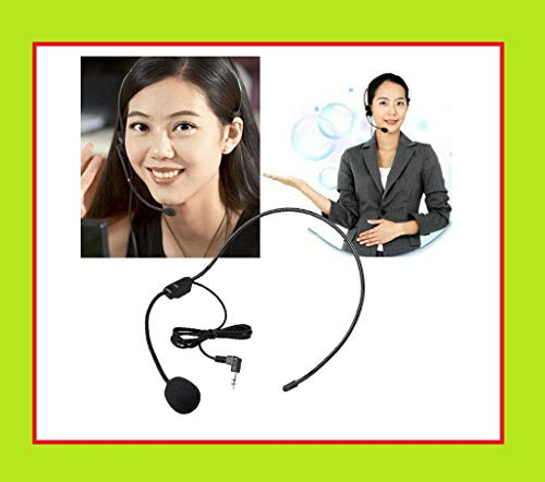 HKeCart Wired 3.5mm Microphone Flexible for Voice Amplifier and AUX Audio Device, Headset/Headworn Microphone for Teacher, Tour Guides, Coaches and More