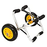 Bonnlo Universal Kayak Carrier - Trolley for Carrying Kayaks, Canoes, Paddleboards, Float Mats, and Jon Boats - Inflation-Free Solid Tires Wheel 2 Ratchet Straps