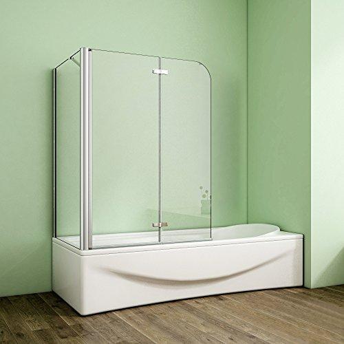 Duschabtrennung Badewannenaufsatz 70x90x140cm Eck Duschwand Badewanne 2-tlg.Faltwand Badewannenfaltwand mit Seitewand 6mm NANO Sicherheitsglas