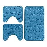 DEMONA Set 3 Pezzi Completo TAPPETI Bagno Sassi Cuori Memory Foam Antiscivolo Morbidi 3D Vari Colori TAPPETINI SPEDIZIONE Gratuita Offerta (TTS3-CERULEO)