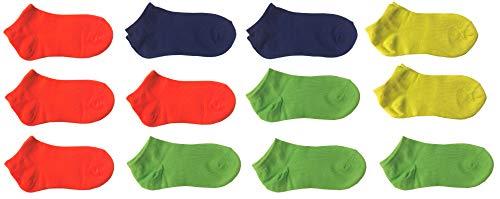 12 paia calze calzini corti bimbo bambino cotone colorati fluo - modello estivo fantasmino (altezza caviglia) (32-36)
