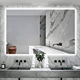 IOWVOE 55 x 36 Inch LED Mirror Backlit Bathroom, Anti-Fog, Dimmable, Wall Mounted Large Vanity Lighted Makeup Mirror, Memory Mirror, with Light, Adjustable Brightness (Vertical & Horizontal)