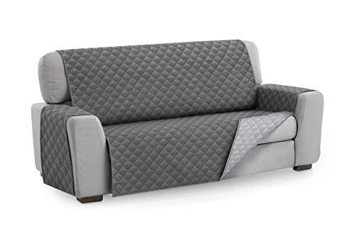 Textilhome - Salvadivano Trapuntato Copridivano Malu 3 posti Reversibile. Colore Grey