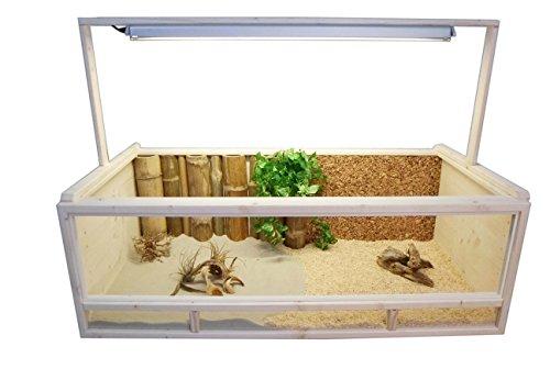 Tropic-Shop Terrarium für Landschildkröten Schildkrötenterrarium 120x60x40cm +++ Echt Holz (Fichte Massiv) Kein Billig OSB!!!!! +++