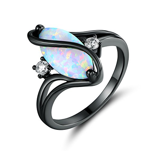 Barzel Rose Gold & White Gold Plated White Fire Opal Created...