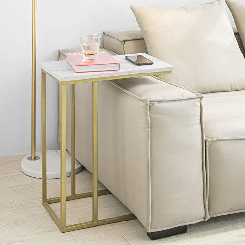 SoBuy Tavolino da Divano Aspetto Marmo Stile Vintage L30*P48*A61cm, FBT87-G