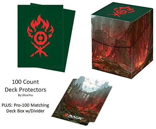 Guilds of Ravnica GRN Gruul Clans Deck Protector & Deck Box Combo (100 Count) for MTG