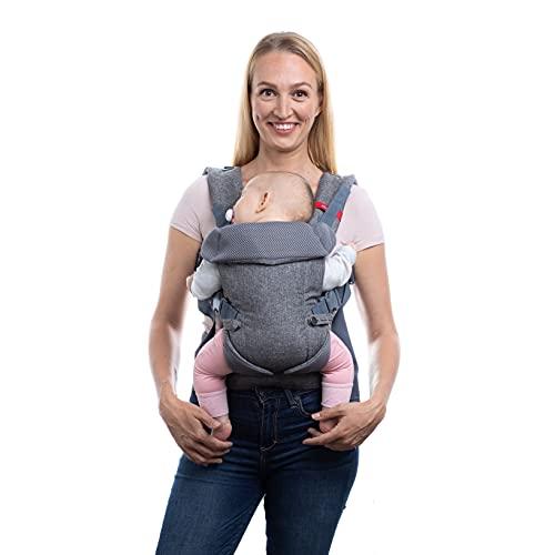 You+Me - Portabebè convertibile 4 in 1, con rete mesh 3D Cool Air, colore: grigio erica, da indossare con un bebè fino a 3,6 kg e bambini fino a 14,5 kg