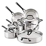 KitchenAid 5-Ply Clad Stainless Steel Cookware Pots and Pans Set, 10 Piece, Polished Stainless