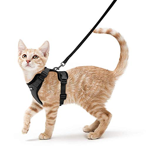 Cat Harness and Leash Set for Walking, Escape Proof with 59 Inches Leash - Adjustable Soft Vest Harnesses for Small Medium Cats, Cat Leash Harness with Reflective Strips & 1 Metal Leash Ring, Black