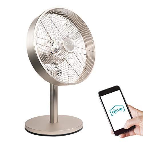 djive Flowmate Classic 50 cm Tischventilator mit App & Alexa Sprachsteuerung, Retro Stahl Design Ventilator, Smart Home Standventilator mit Fernbedienung, Timer, 80° Oszillation, 35W, Warm Silver