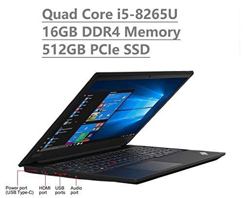 "Lenovo Thinkpad E590 15.6"" HD Business Laptop (Intel Quad Core i5-8265U, 16GB DDR4 Memory, 512GB PCIe 3.0(x4) NVMe SSD M.2 SSD) Type-C, HDMI, Ethernet, Webcam, Windows 10 Professional"