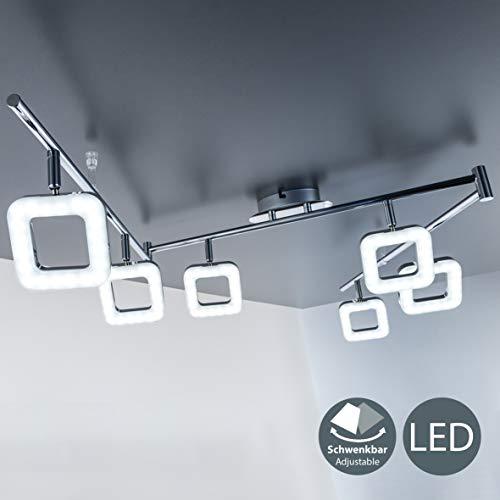 Plafoniera LED moderna, lampada da soffitto, 6 luci orientabili a forma quadrata, LED integrati 6 x...