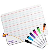 Quality Ruled Dry Erase Lapboard. Great for Kids Learning Writing. with 6 Markers. 9-Inch X 12- Inch