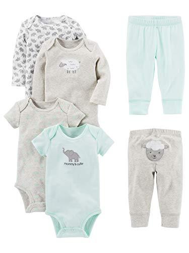 Simple Joys by Carter's Baby - Set di 6 body a maniche corte e pantaloni ,Gray Lamb ,24 Months