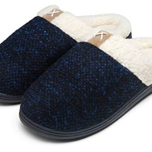JOUSEN Men's Slippers Memory Foam with Warm Fuzzy Plush Indoor Outdoor House Slippers for Men