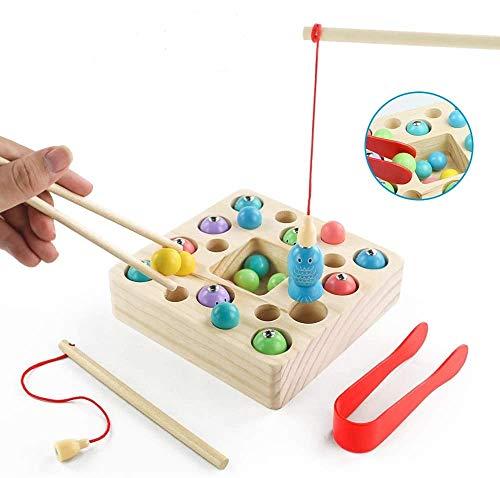 jerryvon Giochi Montessori Gioco Pesca in Legno - Puzzle Bebe Magneti Bambini Pesce da Tavolo con 2 Canna da Pesca e 10 Pesci e 10 Palline Magnetica Educativo Giocattoli Pasqua Bambino per 3 + Anni