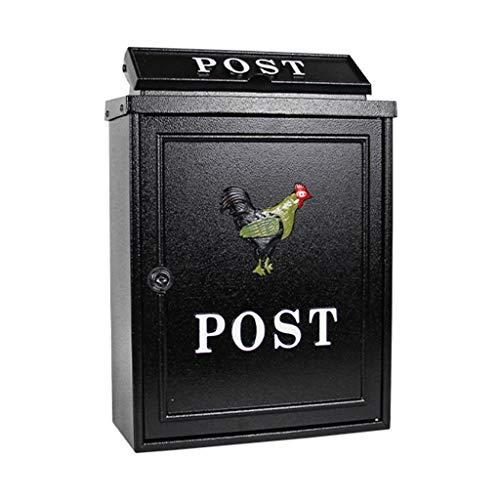 GXF Wasserdichter Briefkasten für den Außenbereich im Freien aufgehängt Villa Mailbox Abschließbarer Großraumbriefkasten, mit 2 Schlüsseln, 28.4x12.5x41cm, Schwarz