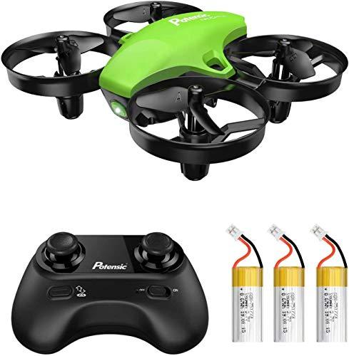 Potensic Mini Drone con Tre Batterie per Bambini e Principianti Quadricottero RC Drone Giocattolo Economico modalit Senza Testa con Telecomando Avvio e Atterraggio con Un Pulsante, Verde