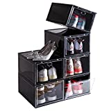 """SOGOBOX Drop Front Shoe Box,Set of 6,Shoe Box Clear Plastic Stackable,Shoe Containers with lids,Shoe Storage Box and Shoe Organizer for Display Sneakers,Fit up to US Size 12(13.8""""x 9.84""""x 7.1"""") Black"""