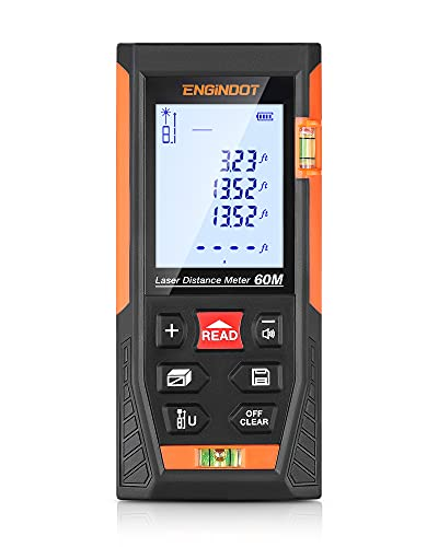 Laser Measure, ENGiNDOT Digital Distance Measure 196 (Ft/M/in/Ft+in) with Two Bubble Level and Backlit LCD, Laser Measurement Tool Continuous, Area, Volume, 4 Pythagorean Modes, Waterproof IP54