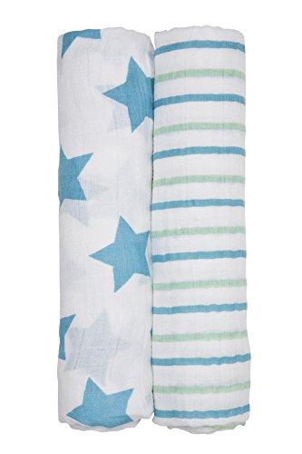 LÄSSIG Baby Puckdecke Spuckdecke Mulltuch Muslin Baumwolle Mullwindel weich atmungsaktiv (2 Stk. 120 x 120cm)/Swaddle und Burp Blanket XL, Stars & Stripes Boys