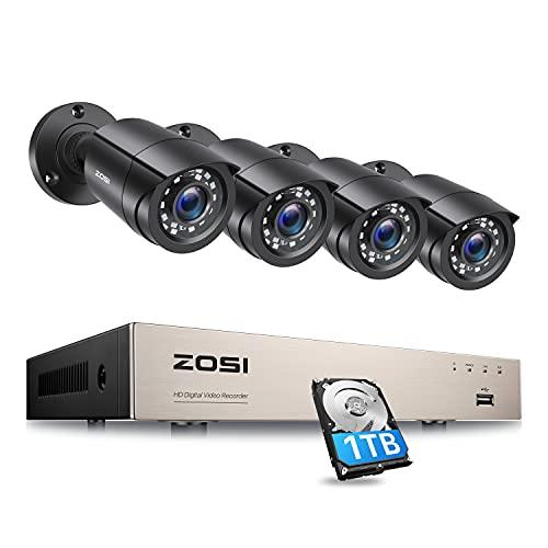 ZOSI 1080p Kit Videosorveglianza H.265 + 8 canali CCTV Sistema di telecamere di sicurezza domestica con 4 Telecamera bullet di sorveglianza, Visione notturna da 80 piedi, accesso remoto