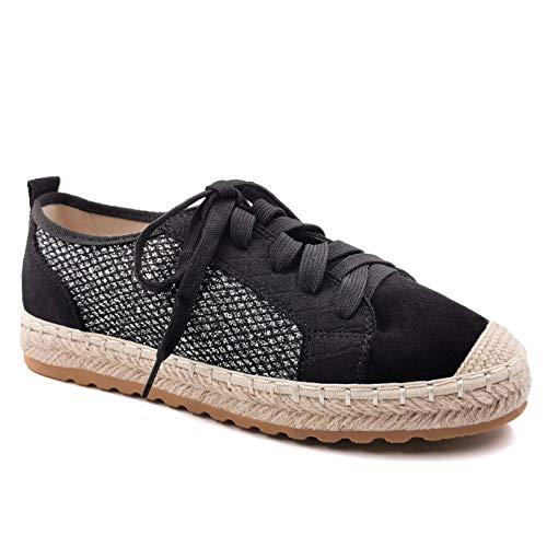 Angkorly - Zapatillas Moda Zapatilla - Sneakers Alpargata Casual/Informal comode Bohemia Mujer Gamuza Trenzado Tacón Plano 2 CM - Negro 2 LX213 T 39