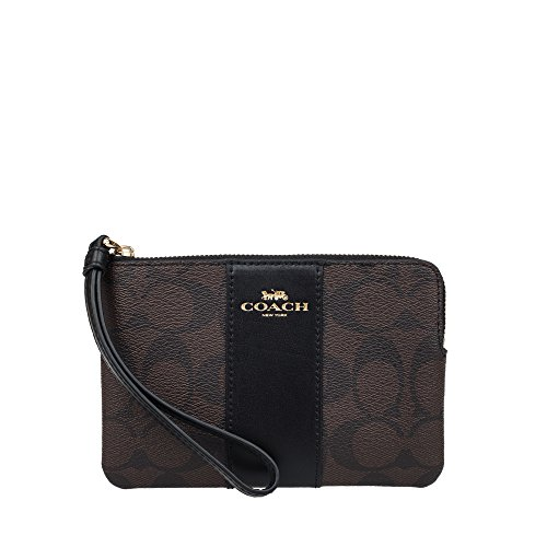 41i0h3O69GL Signature Coated Canvas Gold tone hardware , Zip-top closure Inside two credit card pockets
