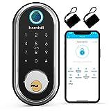 Security Smart Deadbolt, hornbill Keyless Entry Door Lock with Biometric Fingerprint, Bluetooth Electronic Smart Lock with Keypad, App Control, Work with Alexa for Front Door, Bedroom, Apartment