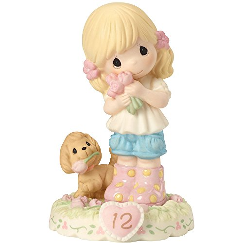 Precious Moments 162011 Growing In Grace, Age 12, Bisque Porcelain Figurine, Blonde Girl