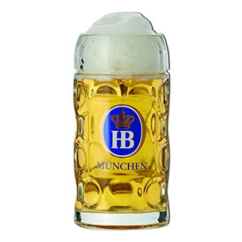 Boccale di birra Hofbrauhaus da 1 litro, vetro di qualità con manico