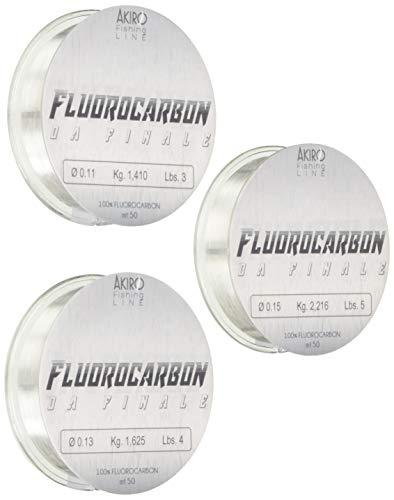 Akiro 100% Fluorocarbon, Filo da Pesca Unisex  Adulto, Trasparente, 0.17-0.19-0.2 mm