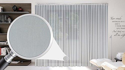 Sun World Maßgeschneiderte weiße Batist Store Gardine, inklusive Blei und Automatik Faltenband 1:2,5, 3er Falte, Gardinen nach Maß, Vorhang nach Maß, Höhe 90 – 295 cm (170cm Höhe x 600 cm Breite)