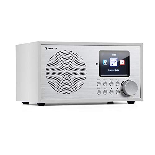 auna Silver Star Mini Internetradio mit Bluetooth - DAB+/UKW Radio, WLAN, USB, AUX-In, Line-Out, 8 W RMS, HCC-Display, inkl. Fernbedienung, weiß
