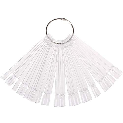 JASSINS 50 Pcs Clear Fan-shaped False Nail Swatch Sticks Nail Polish Practice Display Art Tips Nail Sample Sticks With Metal Split Ring